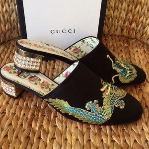 NIB Gucci Crystal Heel Black Dragon Slides 38 8M